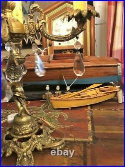 Vintage 5 Light Brass Candelabra Electric Table Lamp Crystal Prisms, Cherub