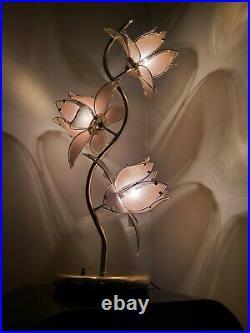 Vintage 80's Pink Petal Glass Gigantic Lotus Flower Lamp Light 41 High