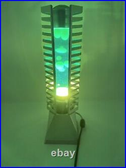 Vintage 80s-90s Large Lava Lamp Table Tower, Neon Yellow Tube CD/Cassette Holder