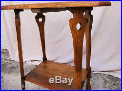 Vintage American Solid Oak Mission / Arts & Crafts Lamp Table LA Area