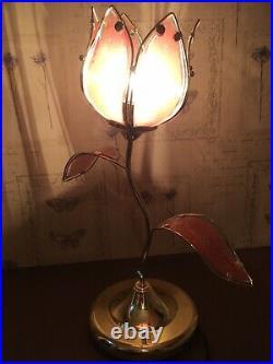 Vintage Anthonys California Pink Lotus Flower Touch Lamp