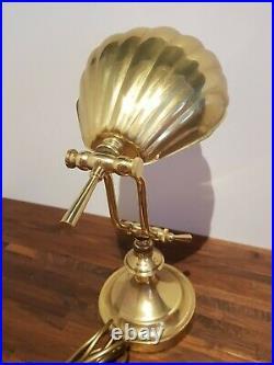 Vintage Antique Clam Shell Brass Desk Table Lamp Art Deco