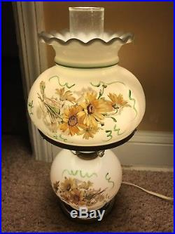 Vintage Antique Glass Globe Gone With The Wind Hurricane Lamp Bar 3Way Light Old