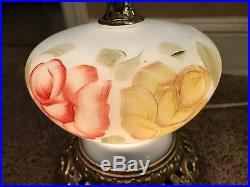 Vintage Antique Glass Globe Gone With The Wind Hurricane Lamp Brass 3-Way Light