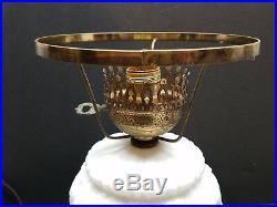 Vintage Antique Milk Glass Floral GWTW Hurricane Lamp Light Glass Brass Shade