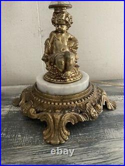 Vintage Antique Table Lamp Cherub Prisms Marble Base