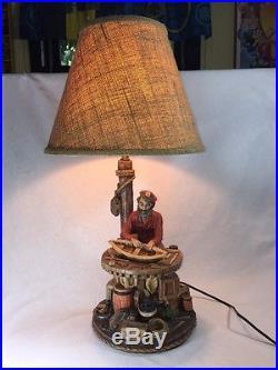 Vintage Apsit Bros. Nautical Sailor Fisherman Boatman Table Lamp 1987 Works