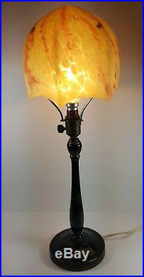 Vintage Art Deco Black Gilded Chinoiserie Painted Wooden Table Lamp Base & Shade
