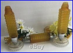 Vintage Art Deco Boudoir Skyscraper Torpedo Bullet Lamps & Headboard Lamp Gold