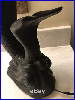 Vintage Art Deco Mermaid Lamp Black 24 Inches Tall Holding White Glass Orb