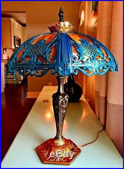 Vintage Art Deco Slag Glass Table Lamp