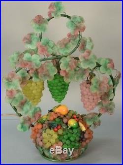 Vintage Art Nouveau Murano Art Glass Grape Cluster Fruit Basket Figural Lamp 27