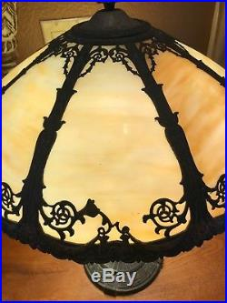 Vintage Art Nouveau Slag Glass 8 Panel Table Lamp