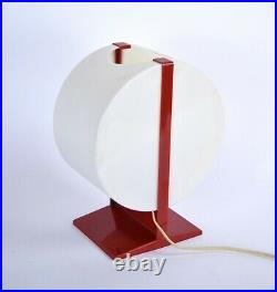 Vintage Atomic Space Age Mid-Century Modern Red & White Plastic Table Desk Lamp