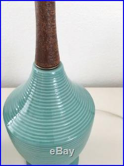 Vintage BLUE CERAMIC TABLE LAMP PAIR Mid Cen Modern 60s Turquoise Teal and Wood