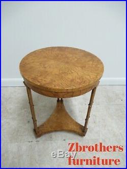 Vintage Baker Furniture Burlwood Faux Bamboo Pedestal Lamp End Table Petite