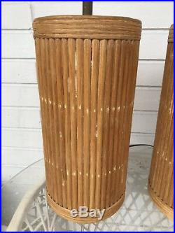 Vintage Bamboo Pair of Table Lamps