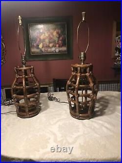 Vintage Bamboo Rattan Mid Century Table Lamps, Pair
