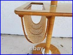 Vintage Bamboo Rattan Tiki Boho Chic Magazine Holder Floor Lamp End Side Table