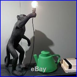 Vintage Black Resin Standing Monkey Table Light Desk Lamp Fixture Bedroom Study