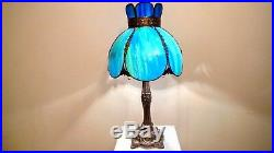 Vintage Blue / Green Bent Slag Stained Glass Shade on Detailed Metal Base Lamp