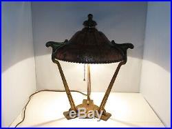 Vintage Bradley & Hubbard B&H art nouveau table lamp unusual copper & brass