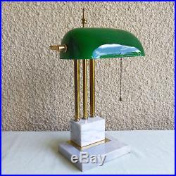 Vintage Brass Art Deco Bankers Desk Lamp Green Glass Shade Marble Base