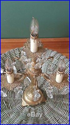 Vintage Brass Crystal Candelabra Table Lamp 4 Light French Boudoir Chandelier A1