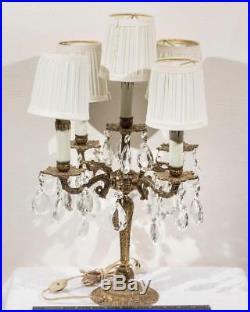 Vintage Brass Crystal Prism 5 Light Table Chandelier Lamp 4 Arm Candelabra g25
