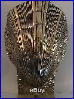 Vintage Chapman 1970s Brass Scallop Shell Desk Lamp MCM Modern Hollywood Regency