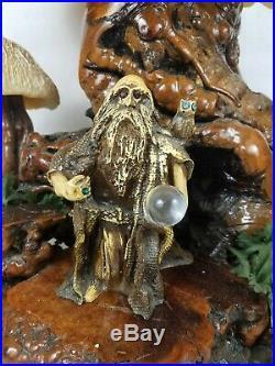 Vintage Coral Magic Mushroom Wizard Lamp Drift Wood Touch Sensor 80s Owl Groovy