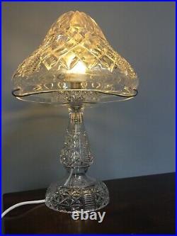 Vintage Cut Crystal Glass Lamp Base & Shade Heavy & Large