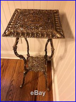 Vintage EDMAR Ornate Brass 2 Tier Plant Stand Lamp Stand End Table Side Table