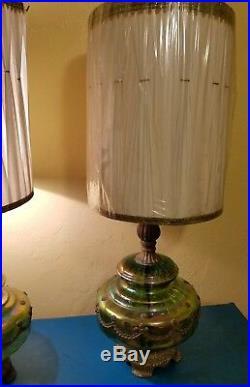 Vintage EK 1972 Carnival Glass Hollywood Regency Lamps with Shades