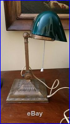 Vintage Emeralite 8734 Banker's Desk Lamp With Original Green Shade