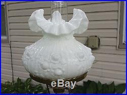 Vintage Fenton Hurricane Lamp Cabbage Rose White Milk Glass 20 Tall