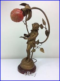 Vintage Figural French Art Nouveau Table Lamp Art Sculpture 16h X 10 W