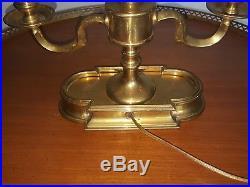 Vintage Frederick Cooper Brass Bouillotte Black Tole Bank Desk Library Lamp