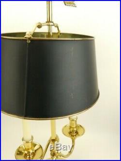 Vintage Frederick Cooper Brass Bouillotte Desk/Table Lamp Black Metal Shade