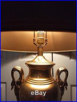 Vintage Frederick Cooper Designer Brass Swan Trophy Lamp And Original Shade 28