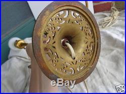 Vintage French Boudoir Porcelain Floral Roses Gold Gilt Table Lamp Set