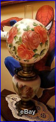 Vintage Gone With The Wind Glass Hurricane Lamp Electric