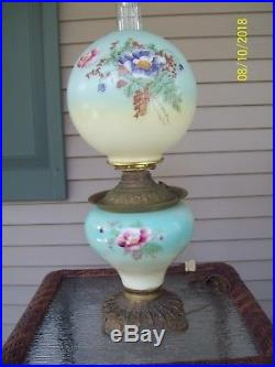 Vintage Gone With The Wind Glass Hurricane Lamp GWTW 24 Floral Electric Nice