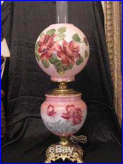 Vintage Gone With The Wind Hand Painted Floral Dual Lighting Lamp
