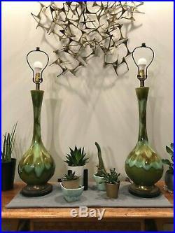 Vintage HUGE Pair ROYAL HAEGER Drip Glaze TABLE LAMPS Mid-Century Modern MCM 60s