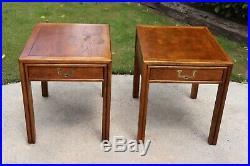 Vintage Henredon Artefacts Campaign Style Side / End / Lamp Tables. Set Of 2