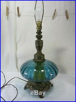 Vintage Hollywood Regency Blue Glass Table Lamp