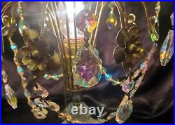 Vintage Hollywood Regency Crystal Waterfall Boudoir Table Lamp Iridescent Prisms
