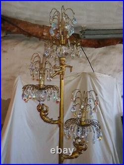 Vintage Hollywood Regency L&L Cherub Floor Lamp With Marble Table