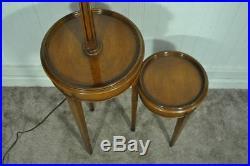 Vintage Hollywood Regency Solid Wood Two Tier Step Up Floor Lamp Side End Table